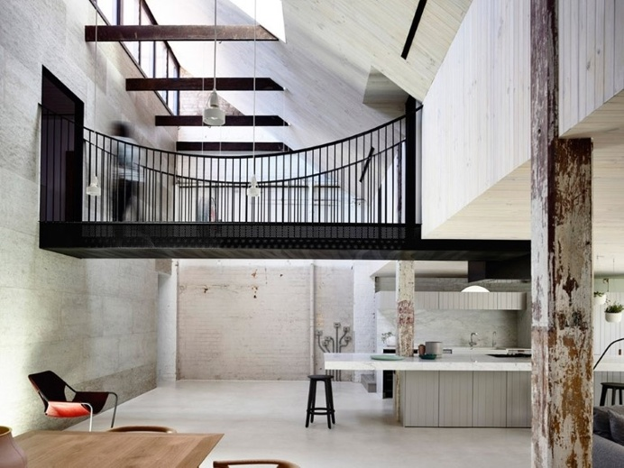 Old Industrial Warehouse Converted into a Two-Story Family Home