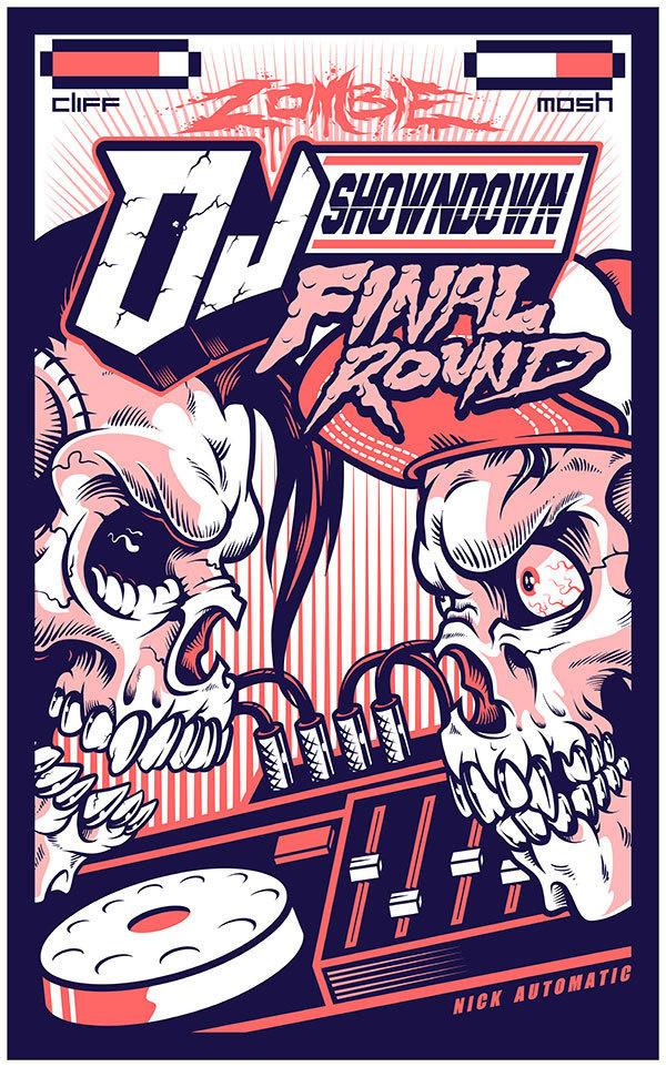 ZOMBIE DJ SHOWDOWN on Behance #zombie #illustration #dj