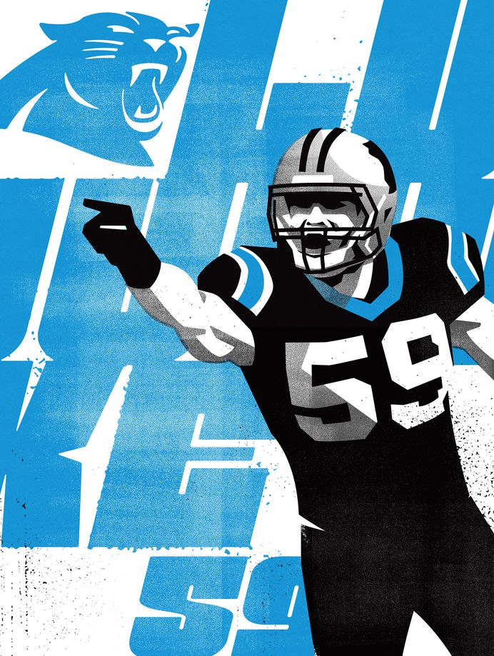 LUKE59 #Illustration by Matt Stevens #Sports #NFL #Carolina #Panthers #American #Football