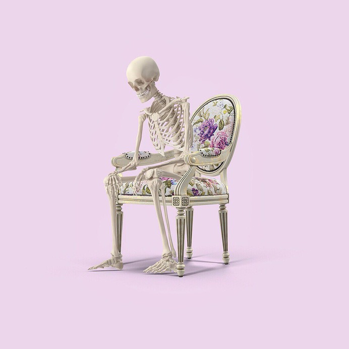 Sitting is the new smoking #colourful #colorful #color #colour #digitalart #art #photoshop #mashup #collage #skeleton #chair #smoking #sitting #floral