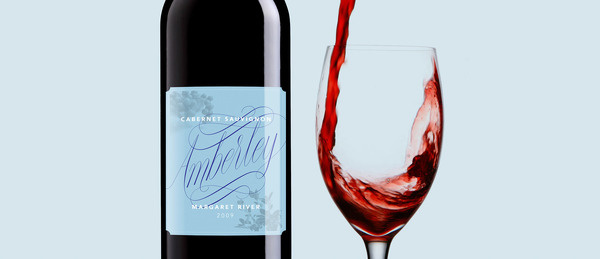Amberley wine label #spencerian #lettering #script #red #packaging #copperplate #wine #label #illustration #custom #type #hand #typography