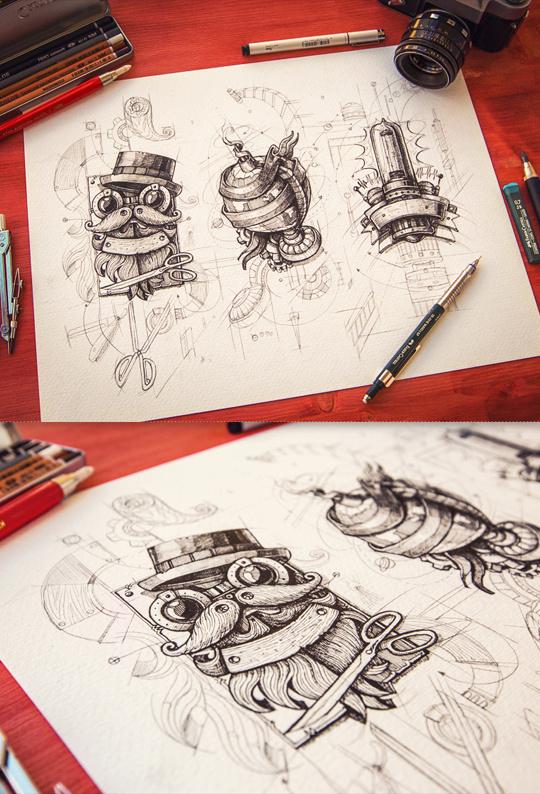 Steampunk 2012-2013 #illustration #drawing #vintage