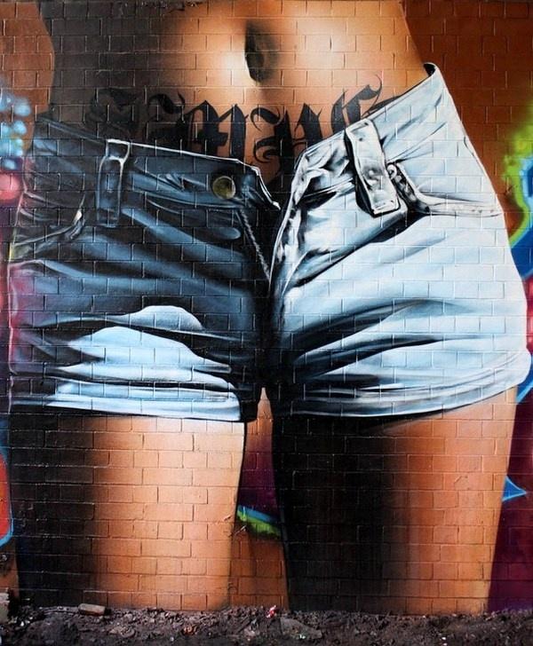 Erotic woman belly in graffiti #graffiti #realism #street #art #realistic