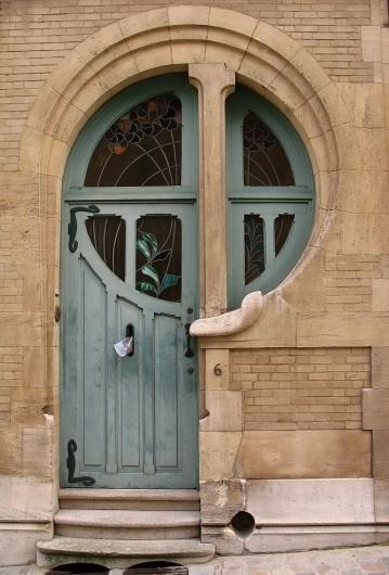 All sizes | Art nouveau - 6 rue du lac | Flickr - Photo Sharing! #nouveau #door #glass #architecture #stain #art
