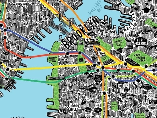 Absolutely wonderful hand drawn map of NYC by illustratorJenni Sparks, second only to Paula Scher #map #illustration #york #nyc #new