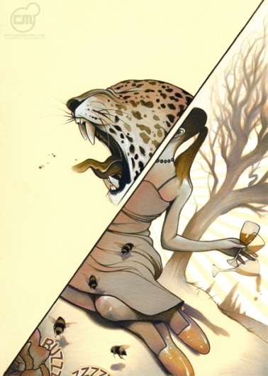Picture good-day-2 « Monochrome | Chris B. Murray #leopard #monochrome #women #illustration #painting #day #drawing #good