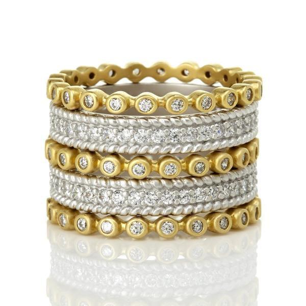 Two Tone Pavé 5-Stack Ring – Freida Rothman   Price: $275.00   Product details @ https://bit.ly/2L1dA5Y. Buy now! #Rings #Jewelry #Fashion #FreidaRothman #NYC #NewYork #Brooklyn