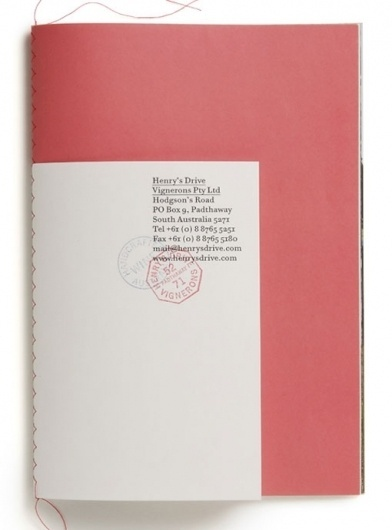 design work life » Parallax: Henry's Drive Vignerons Identity #binding #book #stitch