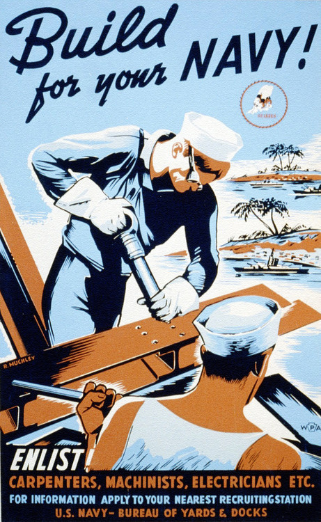 sgtwilkerson:Seabees Recruitment Poster #poster #ww2 #navy
