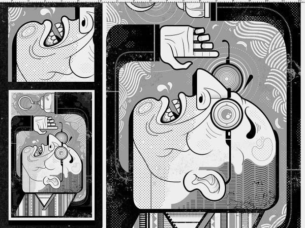 Dribbble - Buster_blknwhite_detail2.jpg by Graham Erwin #man #illustration #vector #texture