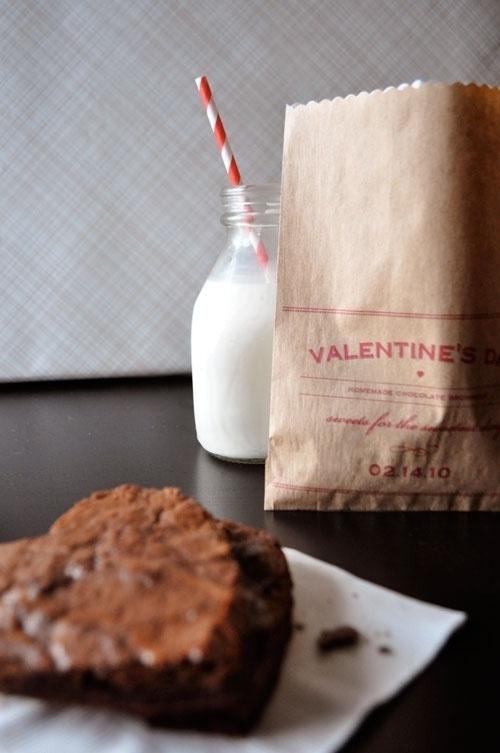 Twig & Thistle » DIY Valentine's Day Brownie Bags #straw #design #brownie #photograph #milk