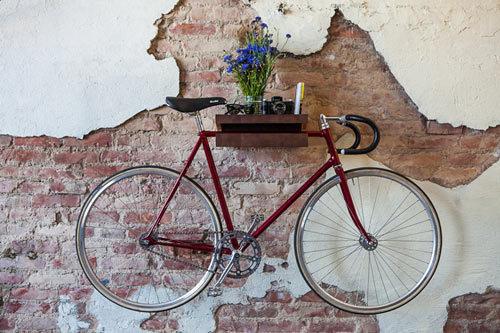 FIXA Bike Shelf Doubles as a Table with Storage Photo #interior #brick #design #wall #bike #deco #decoration