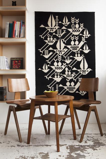 Node Rug design by Lesley Barnes #interior #chairs #modern #tapestry #birds #illustration #rug #plywood #modernist