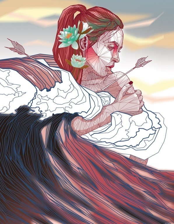 Lily #ocean #lily #wave #digital #illustration #art #arrow