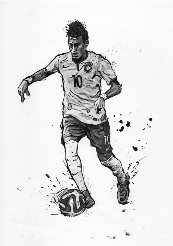Neymar Jr. https://www.behance.net/gallery/16140005/World-Cup-2014-NeymarBrasil-Illustration #ink #worldcup #ball #brazil #soccer #neymar #nike #poster #sport #football #pencil #drawing