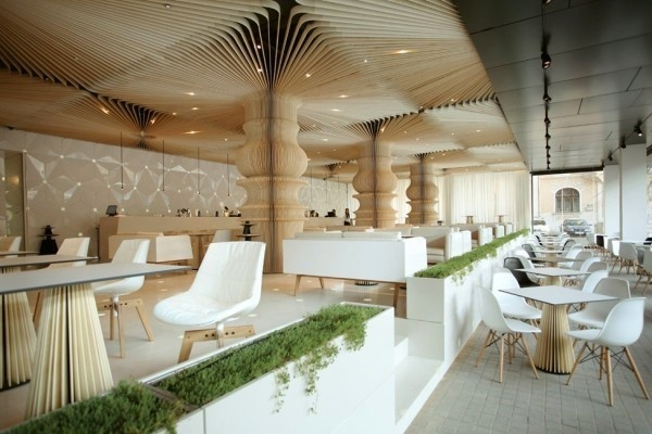 Modern Cafe interior on outside #interior #caf #graffiti #modern #archietecture #cafe #architecture