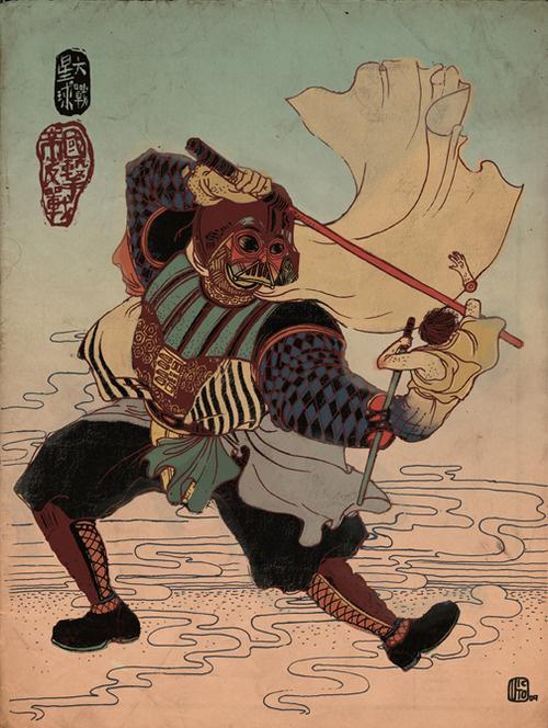 Future Ukiyo e:Â Starwars, The Empire Strikes Back. Victo Ngai. 2009 #wars #illustration #vader #ukiyo #star #darth