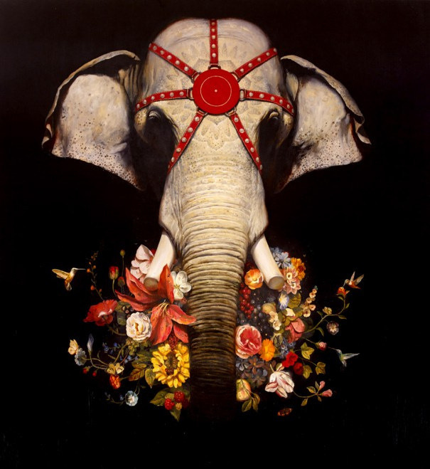"""Hi-Fructose Teams Up with the Virginia MOCA for """"Turn the Page: The First Ten Years of Hi-Fructose""""   Hi-Fructose Magazine #beast #india #design #elephant #flowers #illustration #nature #massive #painting #art #animal #decoration #beauty"""
