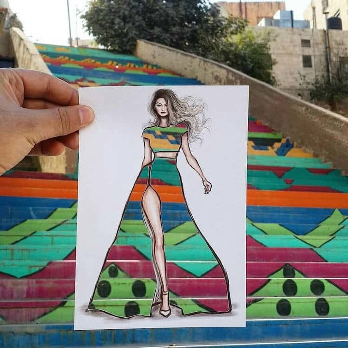 Artist Uses Surroundings to Create His Fashion Paper Cut-Outs