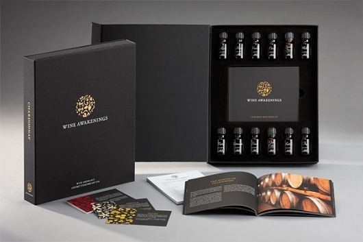 Wine Aroma Kit - FPO: For Print Only #awakenings #packaging #black #wine #seal #gold #foil #brochure