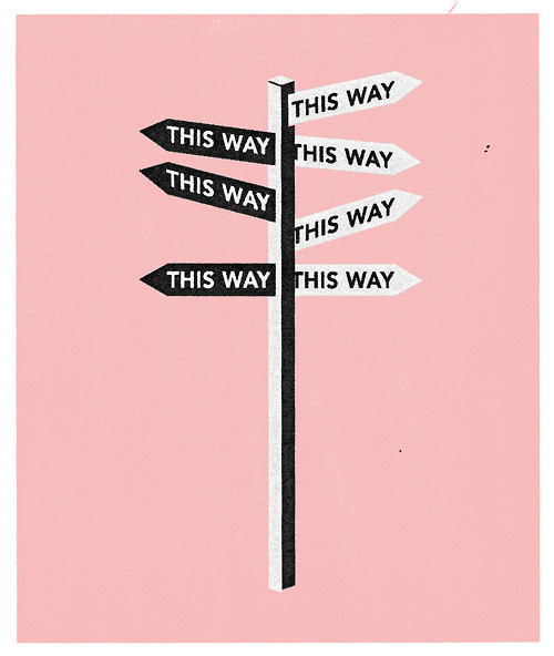 Deciding what to do. Illustration commission by Oxford University for their guide to careers 2012. #pink #illustration #sign