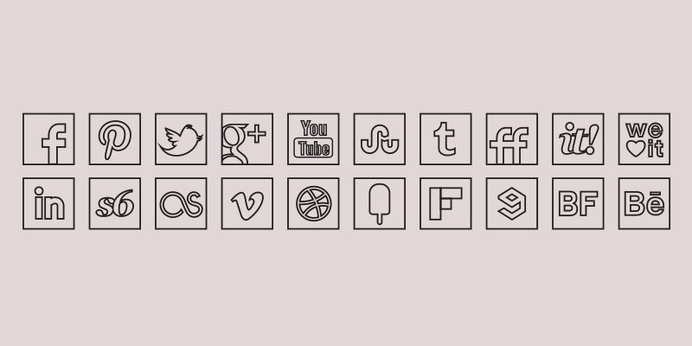 Black Line Colour Icons Set #line #icons #social