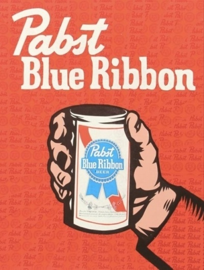 Local Kaffee #beer #advertising #vintage #poster #ribbon #blue #pabst