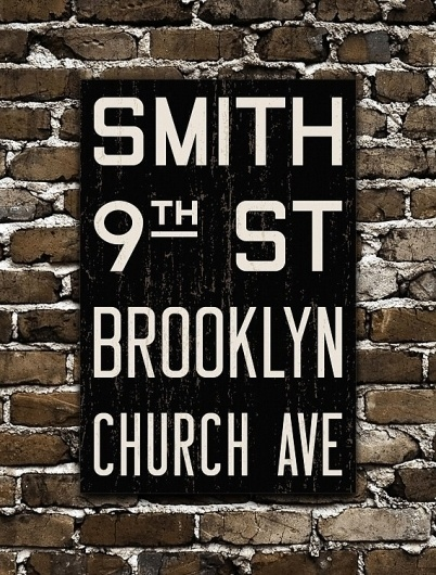 BROOKLYN New York City Distressed Subway Sign by FlyingJunction #signage #typography