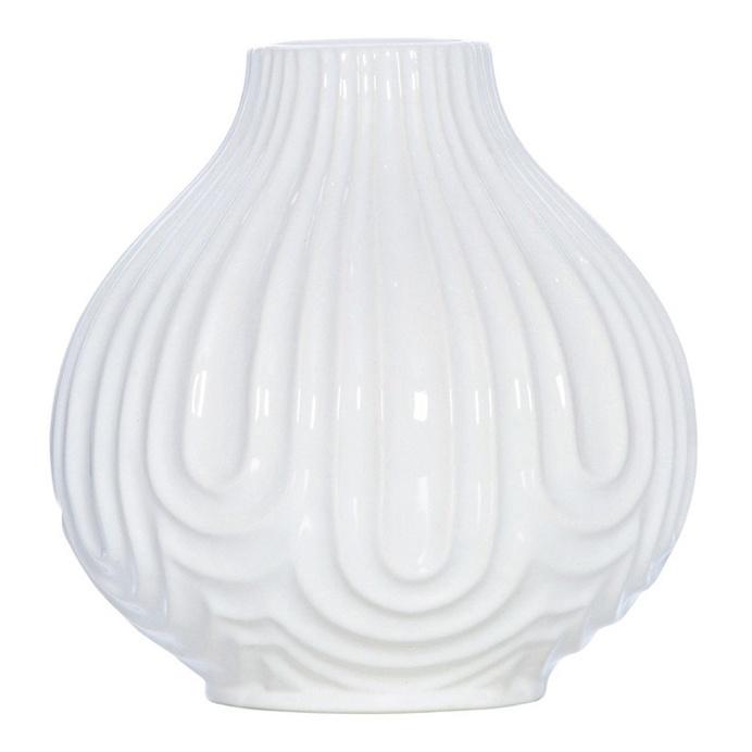 Ridge White Ceramic Teardrop Vase, 20 cm