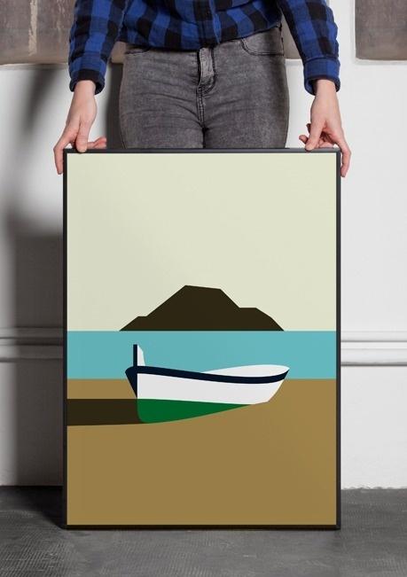 Hey Studio — Minimalissimo #ocean #row #island #illustration #minimal #boat