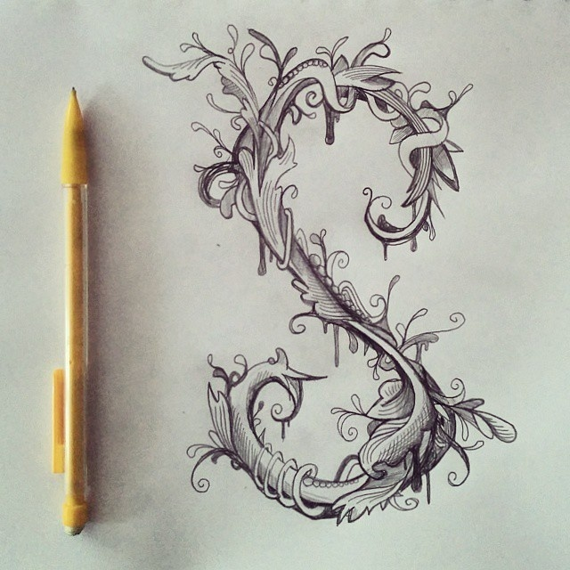 A little type doodles in a florid Victorian ornament style #flourish #doodle #victorian #typography #letter #illustration #ornamental #sketch #plant