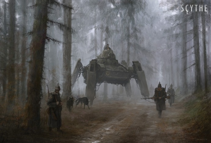 while working on the worldbuilding and fractions for 'Scythe' I would like to share something with you, from time to time, so… please #soldiers #alien #robot #woods #dogs #fi #sci #illustration #art #painting #mech #forest #trees #winter