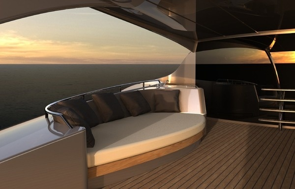 Yacht with outside sofa interior #super #adastra #yacht #modern