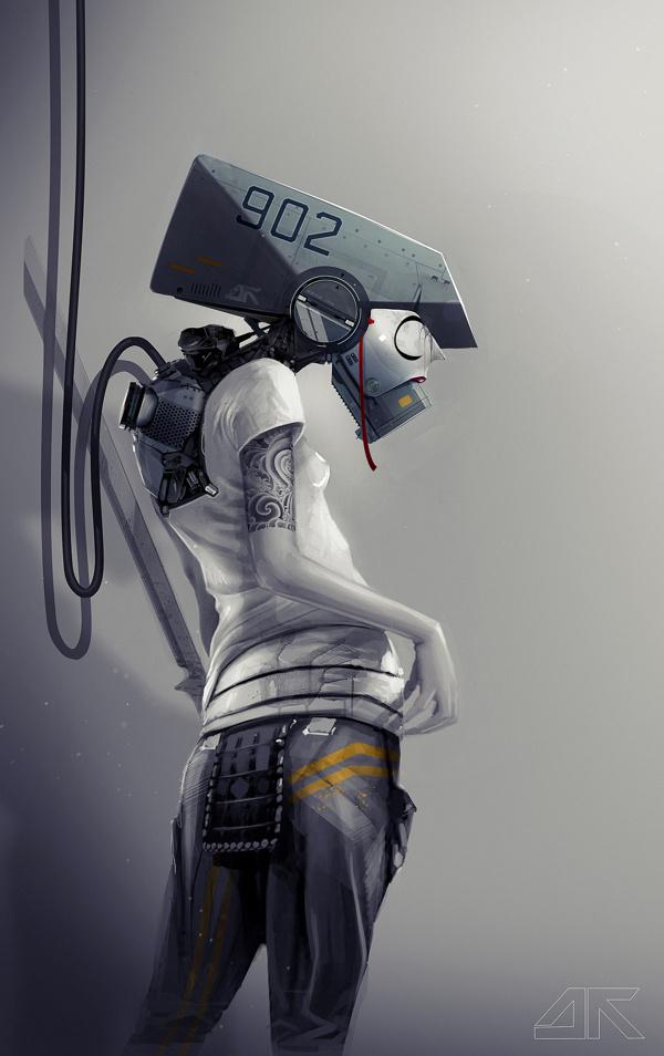 KABUKI by DAYTONER #robot #camera #lens #horror #fi #sci #head #surveillance #illustration #cctv #scary
