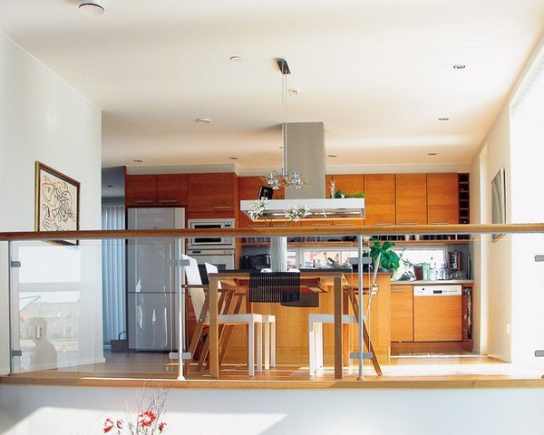 Minimalist interior in kitchen with abstract painting #decor #kitchen #for #art #paintings
