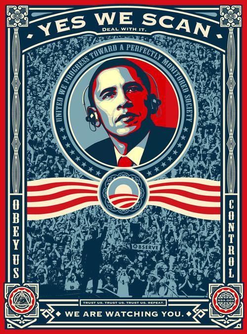 CJWHO ™ (Obama Poster to fit PRISM. Happy 64th, George...) #george #design #illustration #art #1984 #orwell #obama #prism