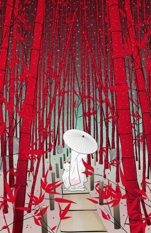 """Yuki- onna"" #kitsune #spirit #illustration #kids #art #bamboo #night #umbrella #Japan #folklore #tradition #culture"