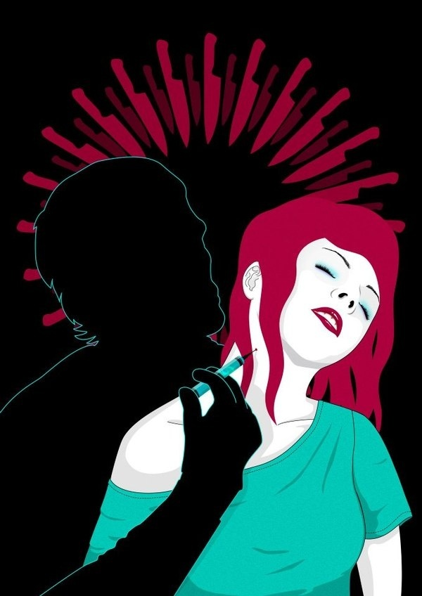 THE DARK PASSENGER #pink #illustration #needle #serial #girl #design #series #poster #vacine #tv #lipstick #dexter #kill #knife #killer #vector #woman #graphic #black #suicide #dark