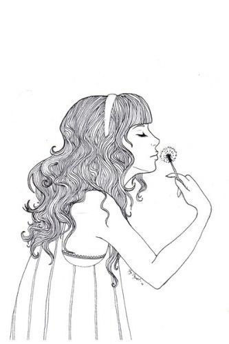 dandelion, drawing, girl, hair, illustration, pretty - inspiring picture on Favim.com