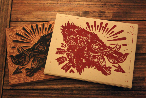 hog5 #cut #print #boar #block #wood #illustration