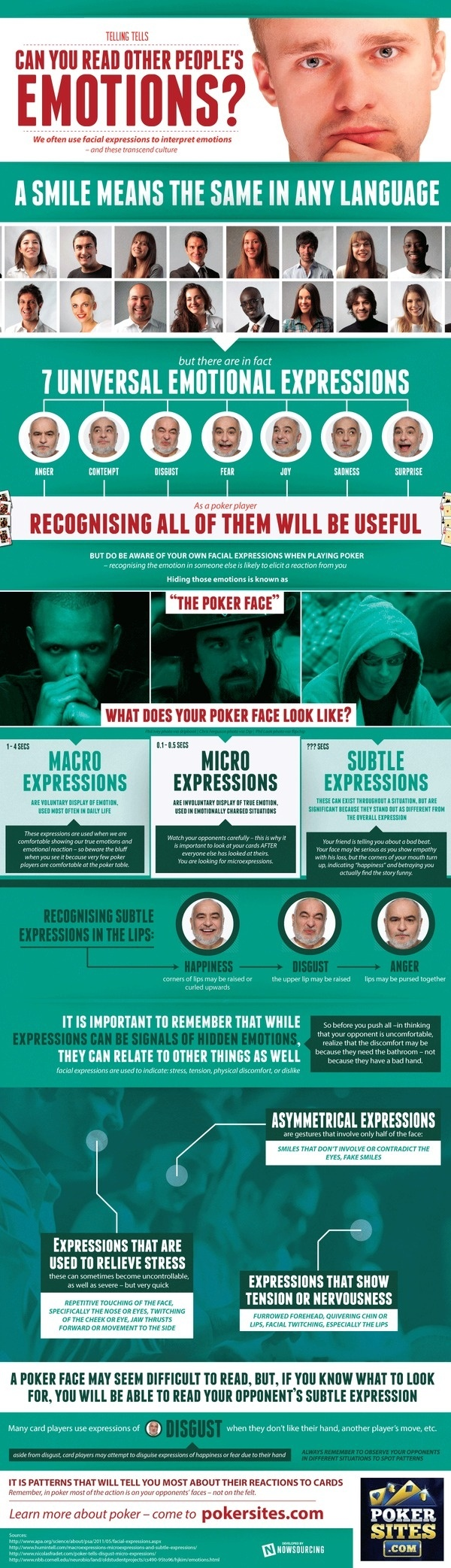 Poker Facial Tells #infographic #poker #face #expressions #emotions