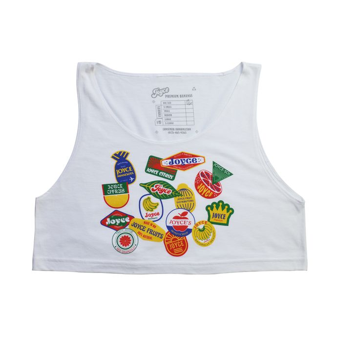 JOYCE - Fruit Sticker Crop Top #FRUITSTICKERS #FRUITSTICKER #CITRUS #BANANAS #GROCERY #ORGANIC #HONEYCRISP #MINNEAPOLIS #JOYCE #FRUIT #FRUITBOX #FRUITCARTON #CARDBOARD #PACKAGING #FRUITSTAND #PREMIUM #DISTRIBUTORS #LAKES #BEACHTOWEL #FRUITBIKINI #CROPTOP