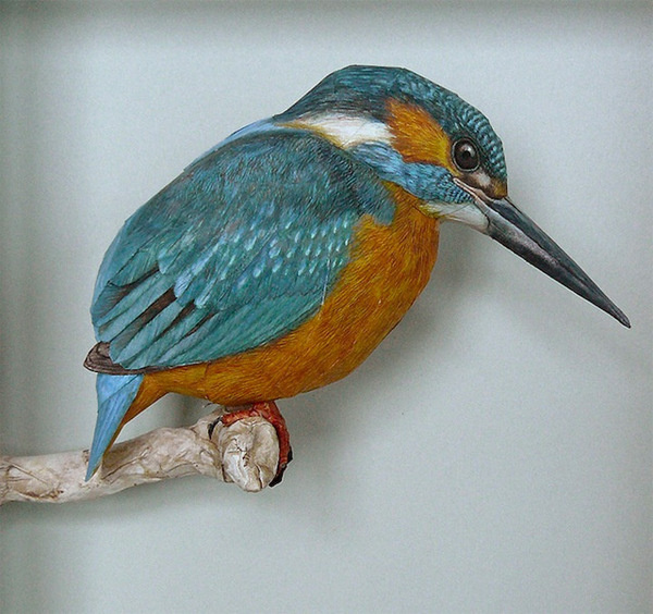 Realistic Birds Made from Paper and Watercolor Paint by Johan Scherft #sculpture #paper #art