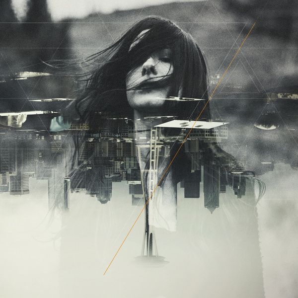 Depths Art Print #double exposure #portrait #geometry #seattle #space needle #nghbrs