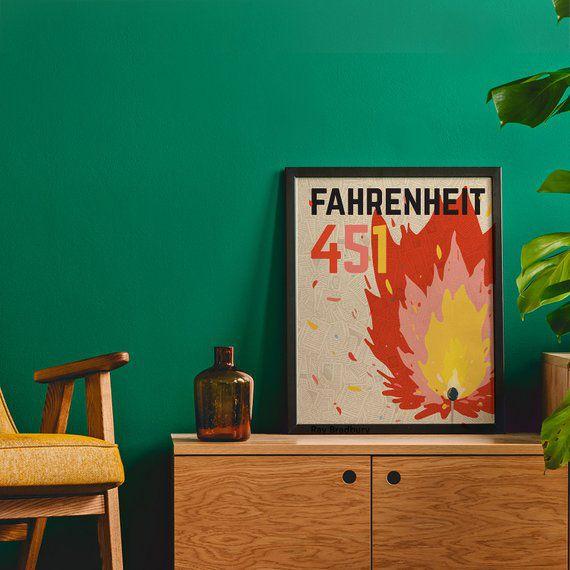 Fahrenheit 451 poster book cover Ray Bradbury Dystopian   Etsy