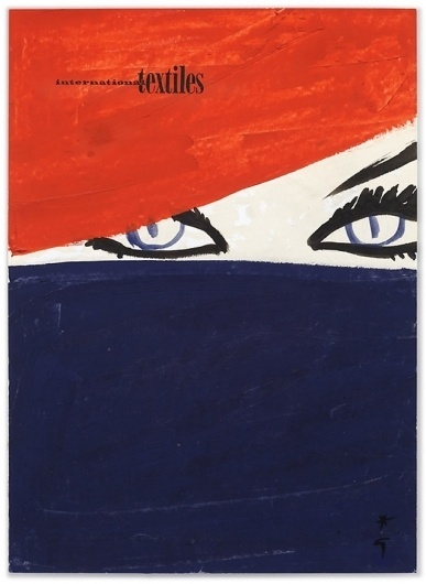 International Textiles cover No. 338, I 1961 | MODESQUISSE #red #eyes #rene #mode #gruau #fashion