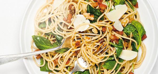 Pasta with Pancetta and Spinach #ricardo #pasta #pancetta #spaghetti