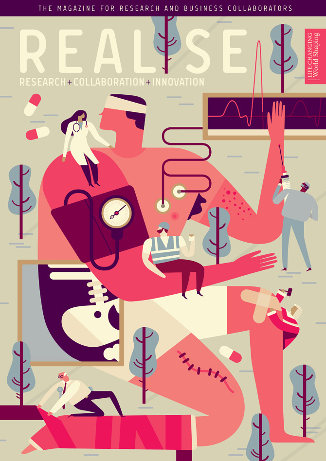 Realise-Patient-Doctor-Builder-Politician-Surgeon-Realise-Magazine-Cover-Illustration-Owen-Davey #illustration