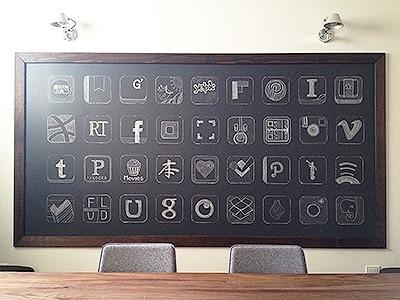 Dribbble - Chalkboard App Icons by Garrett Gee #icon #logo #app #chalkboard