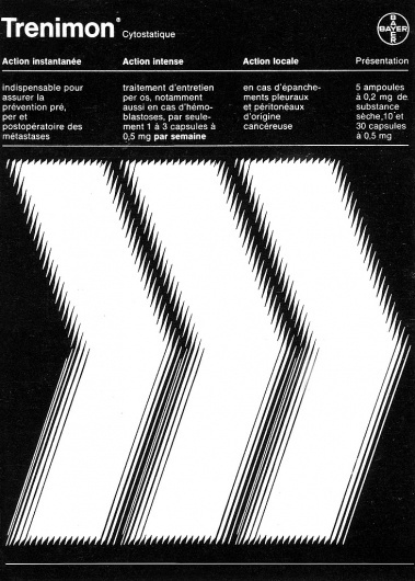 An advertisement for Bayer pharmaceuticals (1986) #white #design #graphic #black #and #advert